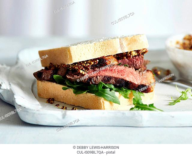Steak sandwich with mustard on tray