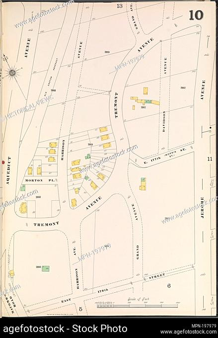 Bronx, V. 13, Plate No. 10 [Map bounded by Jerome Ave., E. 176th St., Aqueduct Ave.]. Sanborn Map Company (Publisher). Atlases of New York City New York City...