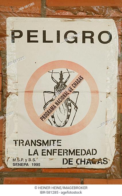 Warning sign warning of Trypanosama Cruzi, pathogen of the Chagas desease, family of the predatory bugs, Jothoisha, Chaco, Paraguay, South America