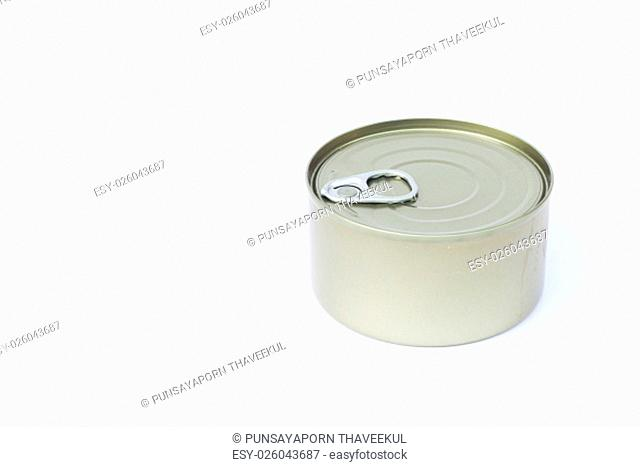 Close-up tin can isolated on white background, stock photo