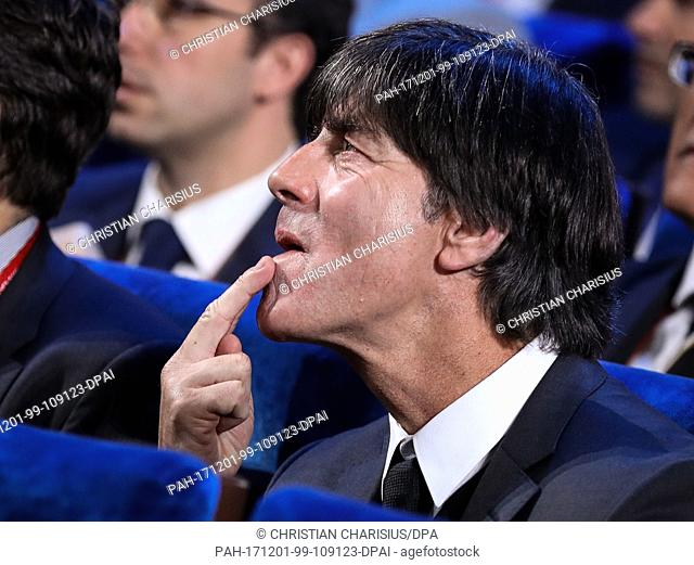 Germany's national soccer team head coach Joachim Loew sits in the hall during the FIFA 2018 World Cup draw at the State Kremlin Palace in Moscow, Russia