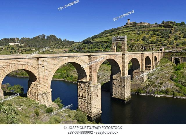 Roman bridge over the Tajo river in Alcantara, Caceres province, Extremadura, Spain