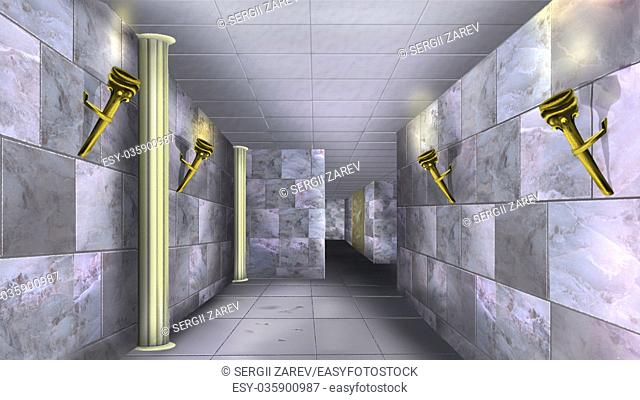 Digital painting of the Ancient maze with marble walls and torches