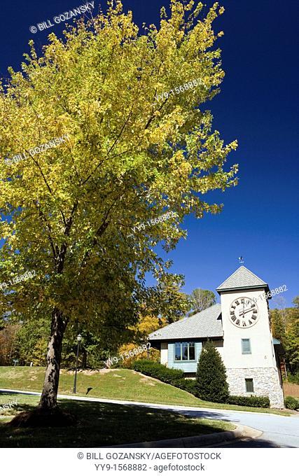 Clock Tower in Straus Park - Brevard, North Carolina USA