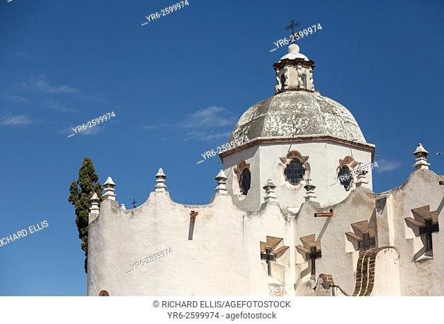 Facade of the fortress like Mexican baroque Sanctuary of Atotonilco and Santa Escuela de Cristo, an important Catholic shrine in Atotonilco, Mexico