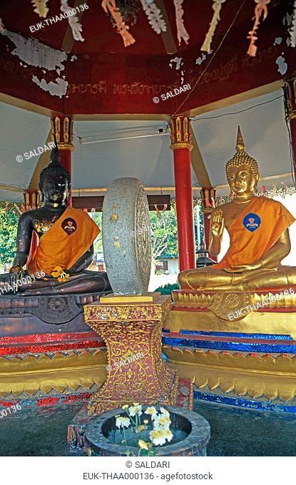 The dharma wheel,Buddhist temple,Thailand