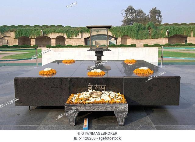 Raj Ghat or Gandhi Samadhi, memorial site of Gandhi's cremation, Delhi, India