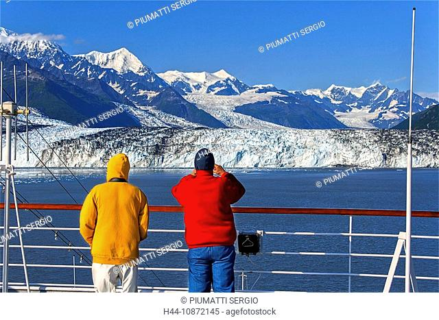 Alaska, USA, College Fjord, northern sector, Prince William Sound, tidewater glaciers, terminate in water, cruise ship, passengers, rocky, debris, in, ice