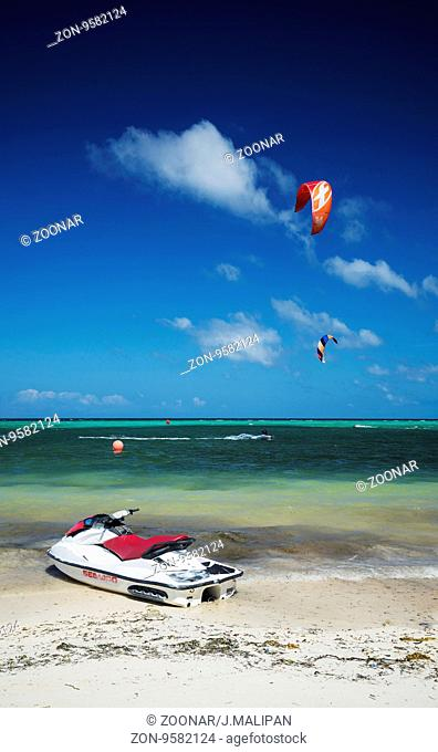 jet ski on tropical paradise beach in boracay island philippines