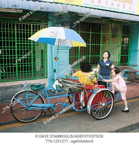 bicycle rickshaws in Georgetown on Penang Island in Malaysia