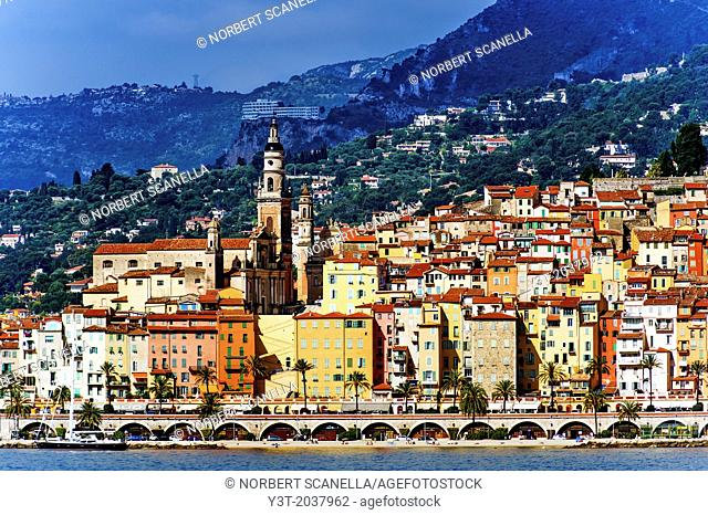 Europe, France, Alpes-Maritimes, Menton. The colored houses of the old town