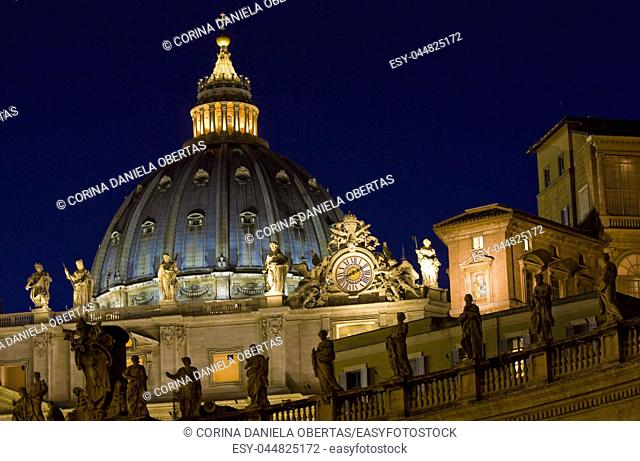 Basilica of St. Peter in Vatican , detail of cupola by night