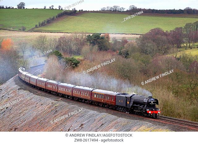 Settle to Carlisle Railway Line UK. Steam train LNER A3 Class 4-6-2 no 60103 'Flying Scotsman'. The Winter Cumbrian Mountain Express