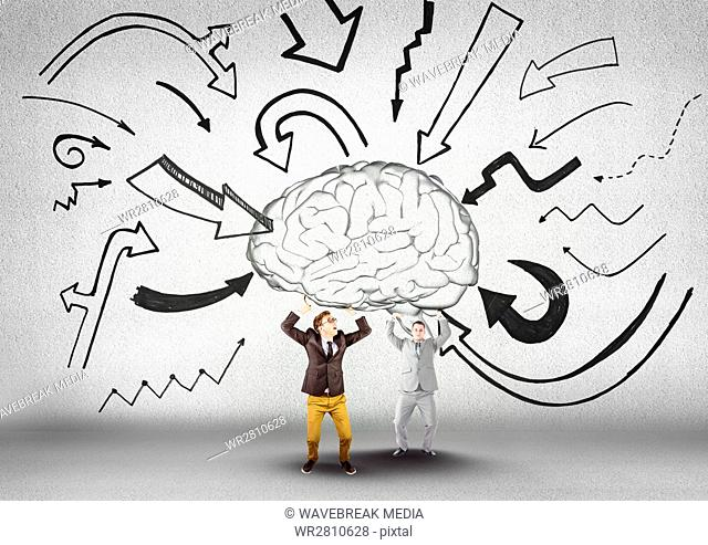 Two business mans carrying the brain with arrows graphic
