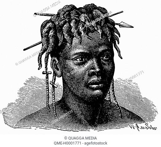 Portrait of an African woman (Njammjam), woman from Africa