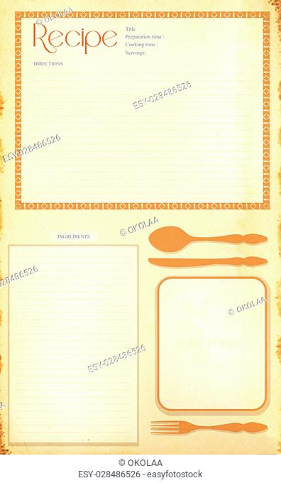 Old grunge retro recipe card layout