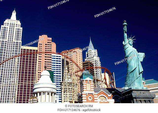 Las Vegas, NV, New York-New York, casino, Nevada, The Strip, Replica of the Statue of Liberty, Empire State Building and other landmarks at New-York New-York...
