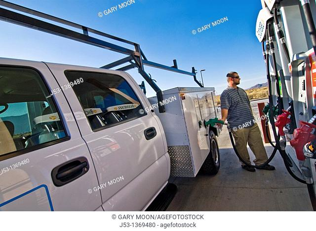 Fueling work truck with biodiesel at retail fuel station, Minden Nevada