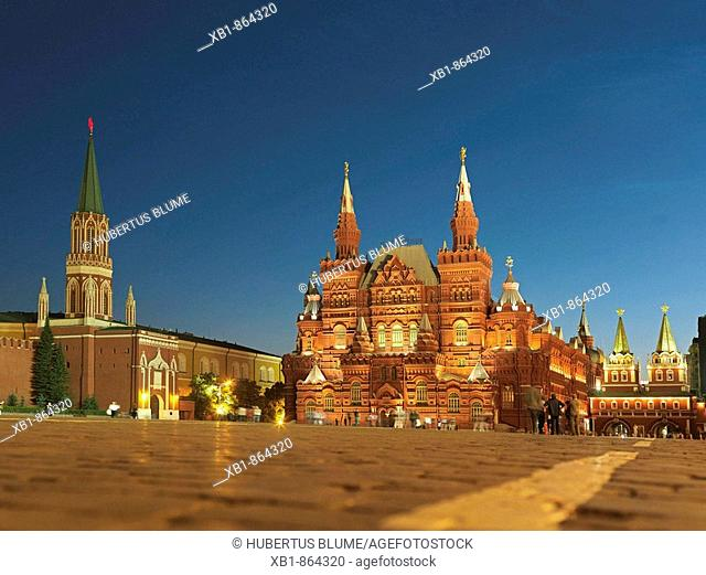 Red Square with right State Historical Museum and left Nikolskaya tower, part of the Kremlin wall, Moscow, Russia