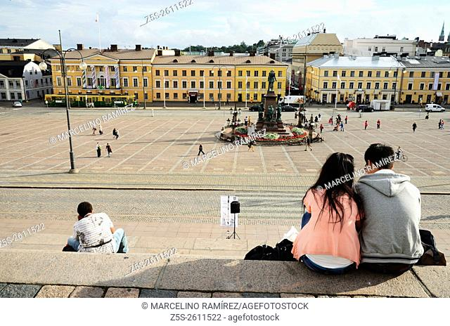 View to the Senate Square from the Helsinki Cathedral. In the center is Czar Alexander II Statue. Helsinki. Finland