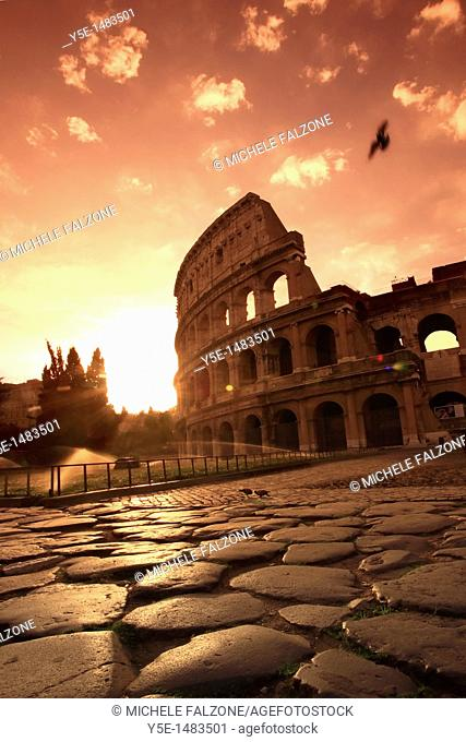 Colosseum and Via Sacra, sunrise, Rome, Italy SUNSET FILTER