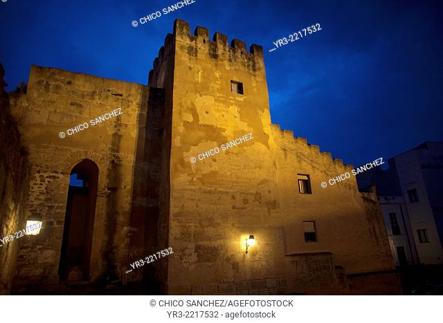 Fortress wall at sunset in Caceres, Extremadura, Spain