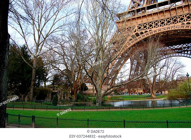 Gardens with a pond under the Eiffel Tower