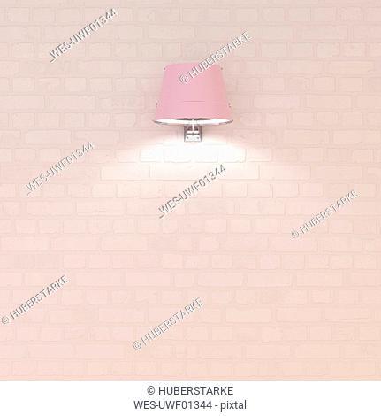 Pink wall lamp at brick wall, 3d rendering