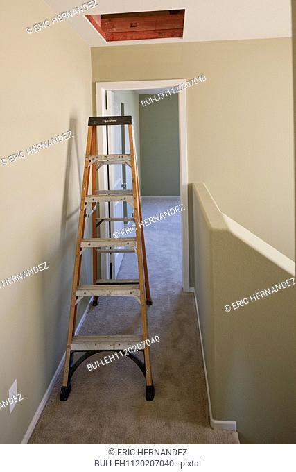 Ladder in narrow hallway along beige walls at empty home