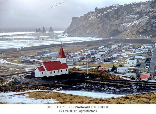 Vik church in winter, Iceland