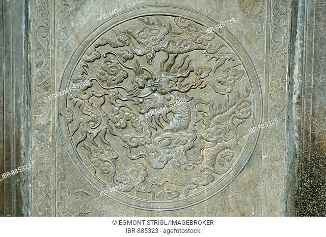Stone carving of a Chinese dragon in a temple, Hoi An, UNESCO World Heritage Site, Vietnam, Asia