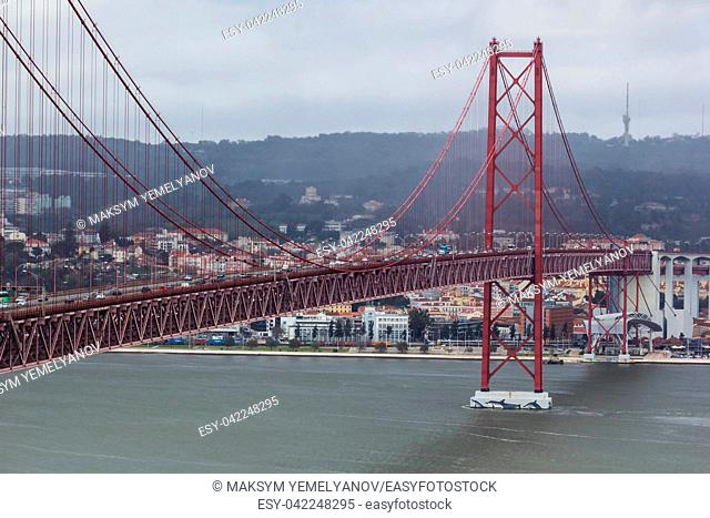 Bridge of 25th april(Ponte 25 de Abril) in Lisbon, Portugal