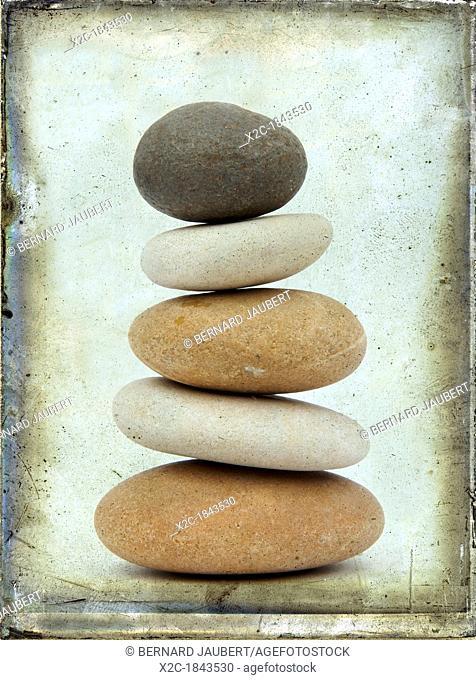 Stacked pebbles, vintage look