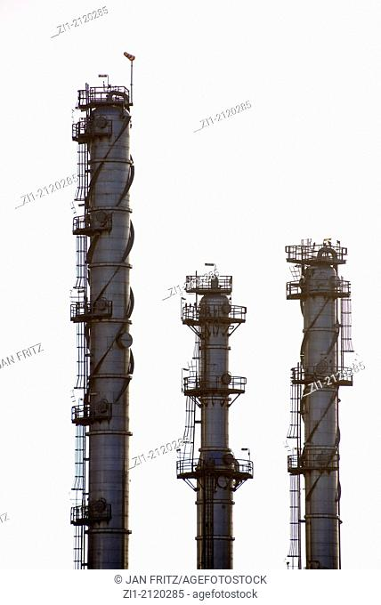 detail of oil refinery in Europoort in the Rotterdam harbour