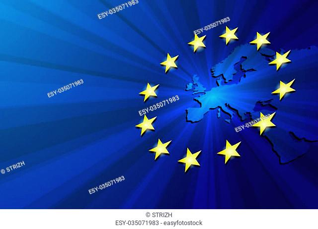 European Union. Vector Europe map with European union flag. Blue background and yellow stars