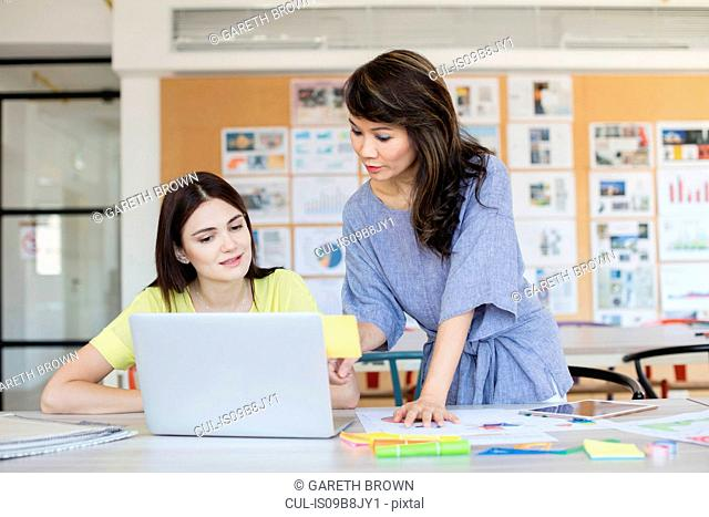 Teacher and student working at laptop