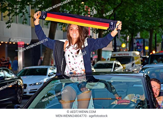 Fans celebrating the German victory with a car parade (Autokorso) after soccer match Germany vs. Slovakia at Kurfuerstendamm during the Euro Cup 2016