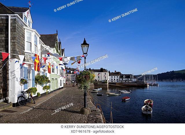 England Devon Dartmouth Bayard's Cove decorated for Dartmouth regatta celebrations