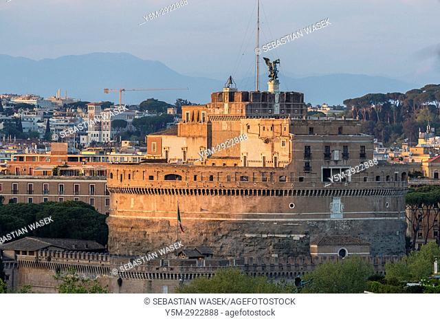 Mausoleum of Hadrian seen from Janiculum Hill, Rome, Lazio, Italy, Europe