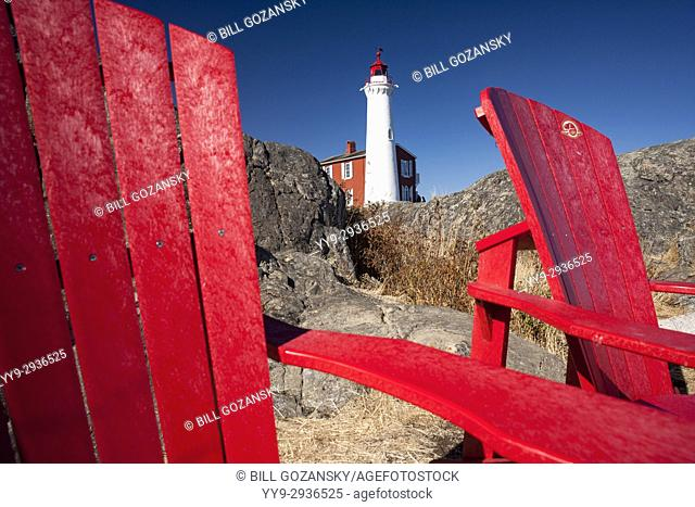 Red Chairs at Fisgard Lighthouse and Fort Rodd Hill, Victoria, Vancouver Island, British Columbia, Canada