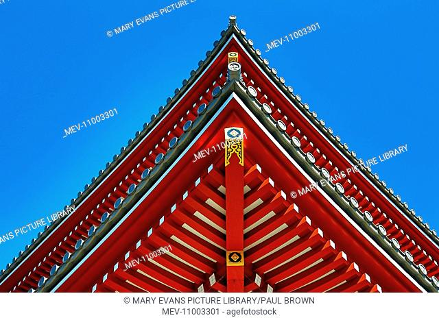 Traditional wooden roof and pagoda at the Shinto Shrine at Senso-Ji Buddhist Temple in Asakusa in Tokyo, Japan
