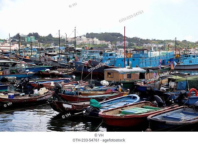 Fishing boats mooring at Cheung Chau, Hong Kong