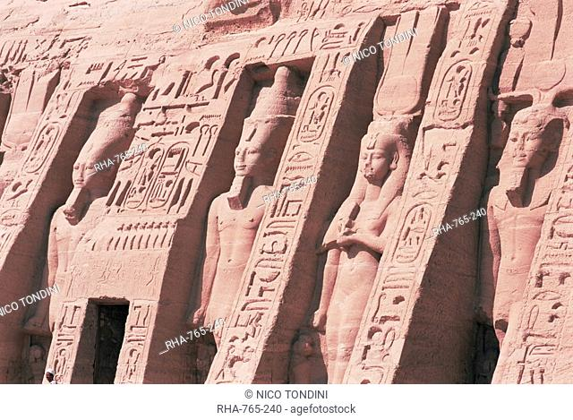 Queen Nefertari's Temple, dedicated to Hathor, Abu Simbel, UNESCO World Heritage Site, Nubia, Egypt, North Africa, Africa