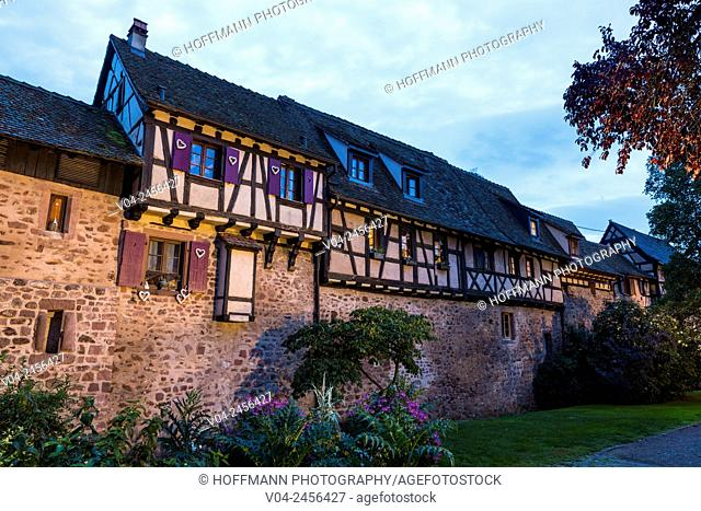 Mediaeval ramparts in the historic village of Riquewihr at dusk, Alsace, France, Europe