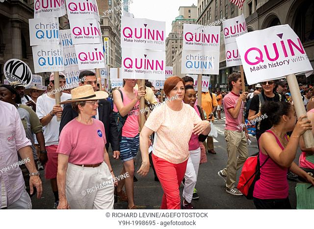NYC Council Speaker and mayoral candidate Christine Quinn, center, campaigns in the 44th annual Lesbian, Gay, Bisexual and Transgender Pride Parade on Fifth...