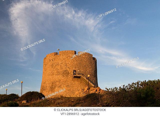 View of the medieval Longosardo Tower at sunset Santa Teresa di Gallura Province of Sassari Sardinia Italy Europe