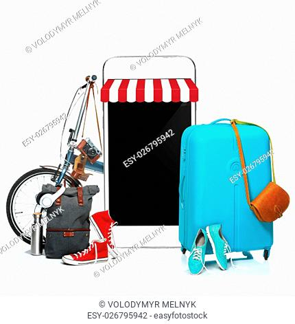 The blue suitcase, sneakers, clothing, hat, and phone on white background. The travel, tourism and holidays concept. Collage