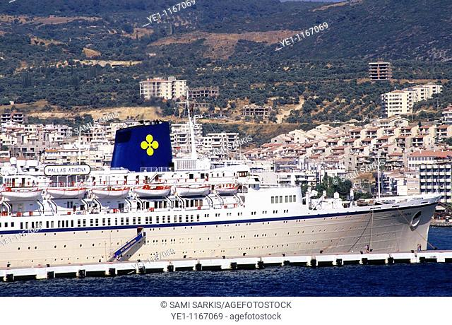 Cruise ship docked in the port at Izmir, Turkey