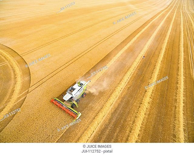 Aerial view of combine harvester in golden barley field