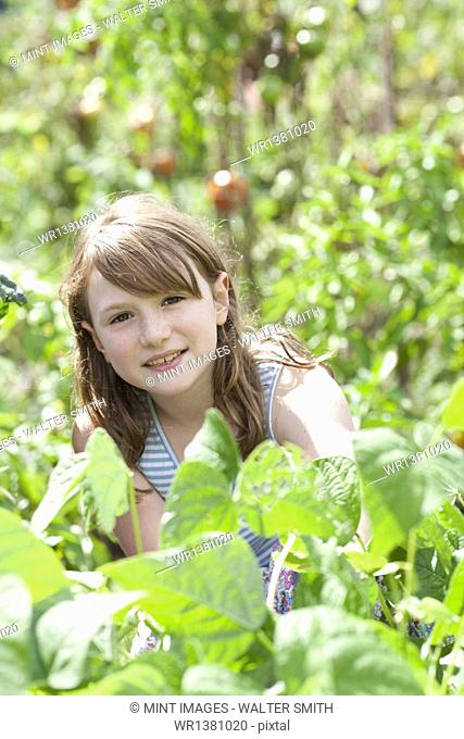 A young girl sitting in among the fresh green foliage of a garden. Vegetables and flowers. Picking fresh vegetables